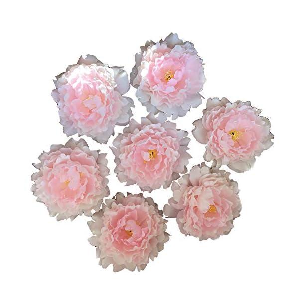 FANFLONA Wholesale Silk Flowers Artificial Peony Flower Heads 100 Bulk for Wedding Backdrop Centerpieces Cake Topper Decor (Light Pink)
