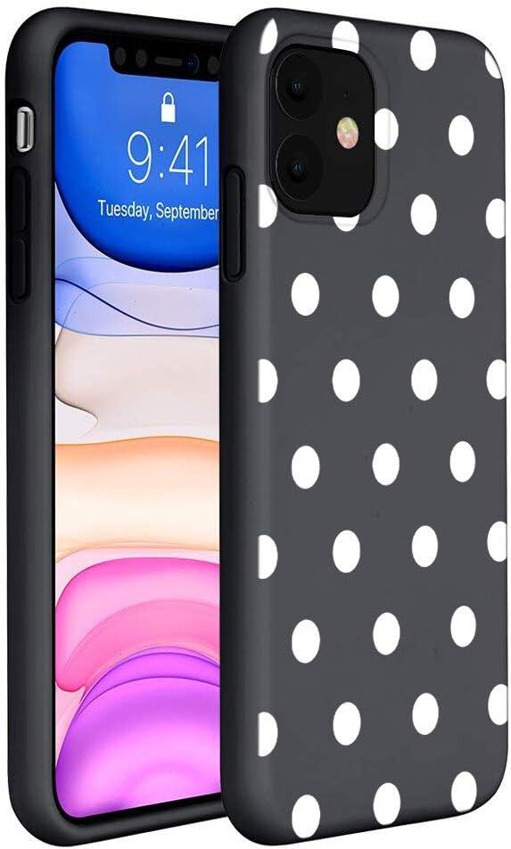 ZhuoFan Funda iPhone 11 Cárcasa Silicona Ultrafina Negra con Dibujos Diseño Suave TPU Antigolpes de Protector Piel Case Cover Fundas para Movil Apple iPhone11, Lunares Blanc