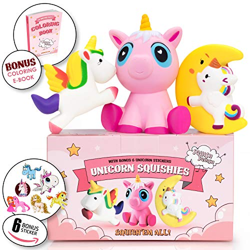 3PCs Jumbo Unicorn Squishy Toys, Slow Rising Giant,3 Pack Gift Box Stress-Relief Squishies