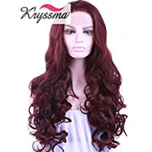 K'ryssma Heat Resistant Half Hand Tied Wine Red Synthetic Lace Front Wig Beautiful Long Wavy Burgundy Color Fiber Hair for Women