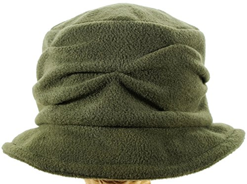 Olive Pleated Wave Design Cloche made in New England