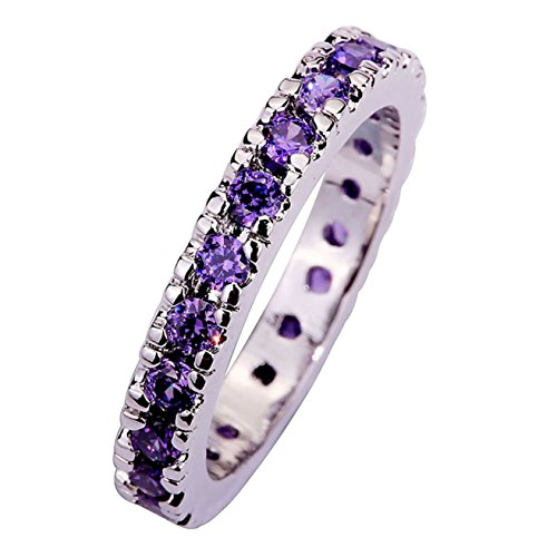 Emsione 925 Sterling Silver Plated Created Amethyst Wedding Band Cubic Zirconia Stackable Engagement Ring Size 6-13