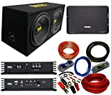 Bass Rockers BB12D | 12' inch 2400W Loaded Dual Subwoofer Enclosure Ported Box W/SSL EV2500M High Powered Bass Amp and 4 Gauge Bass Rockers Amp Wiring Kit Full Bass Package for Fraction of The Cost