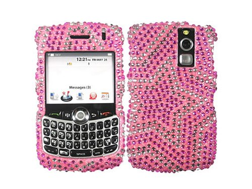 Star Pink Bling Rhinestone Faceplate Diamond Silver Baby Crystal Hard Skin Case Cover for Blackberry Curve 8300 8310 8320 (8330 Faceplate Cover Case)