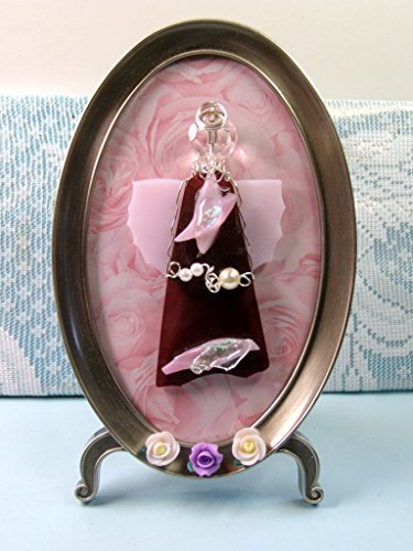 Handmade PINK ROSE ANGEL Art Glass, Framed Picture, Fused Glass Jewelry, Wire Wrapped, White Pearls, Inspiration, Hope, Faith ()