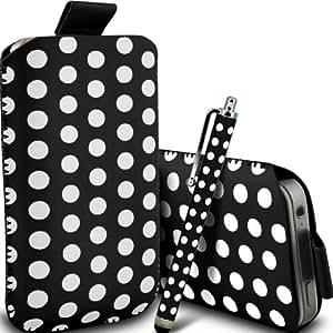 Samsung Galaxy Core Plus G3500 de Protección Premium Polka PU ficha de extracción Slip In Pouch Pocket Cordón piel cubierta de la caja de liberación rápida y Stylus Pen Negro y Blanco por Spyrox y Stylus Pen