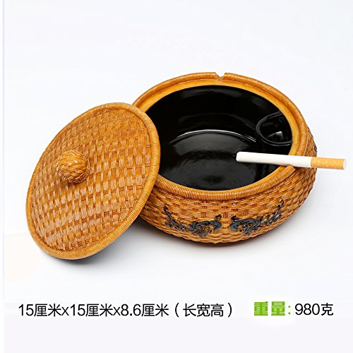 Znzbzt ashtray creative large bedroom living room with personalized cover home fashion multifunction practical ashtray, Bamboo Weaving smoking cylinder by Znzbzt