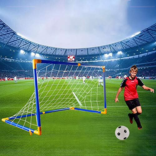Enjocho 118x62x62cm Blue Mini Removable Football Toys Soccer Goal Post Frame Set Indoor and Outdoor Sports Soccer Equipment (Blue)