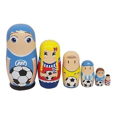 SUPVOX Muñecas de anidación rusas Matryoshka jugadores de fútbol apilamiento Toy Doll 6pcs: Hogar