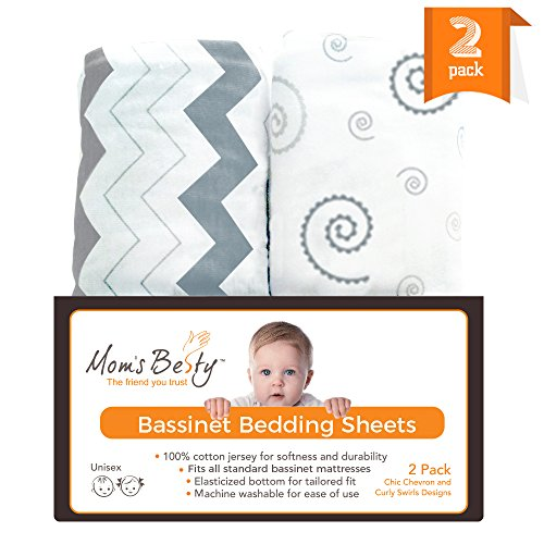 Co Sleeper Universal (Bassinet Sheet Set - 2 Pack Jersey Cotton Fitted Sheets - Grey/White Unisex Baby Bedding Design)