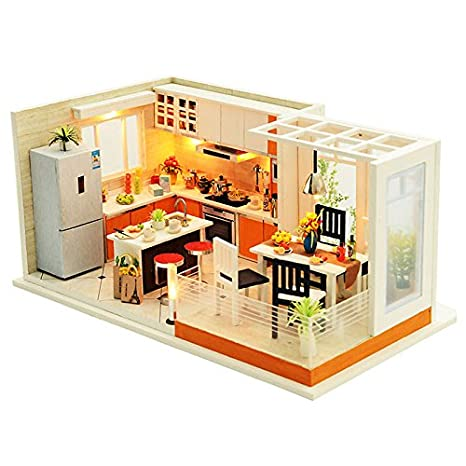 SODIAL Modern Kitchens Handmade Dollhouse Furniture Miniature Diy Dollhouse  Miniature Dollhouse Wooden Toys For Children