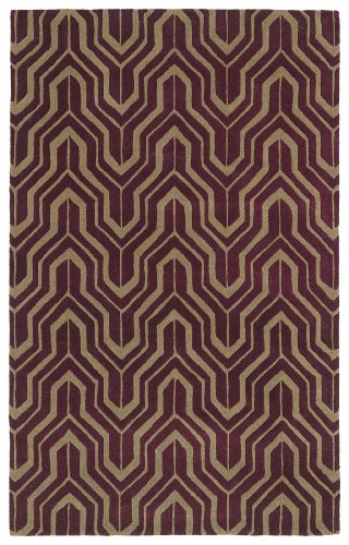 Revolution Collection Hand Tufted Plum Rug (5' x 7'9