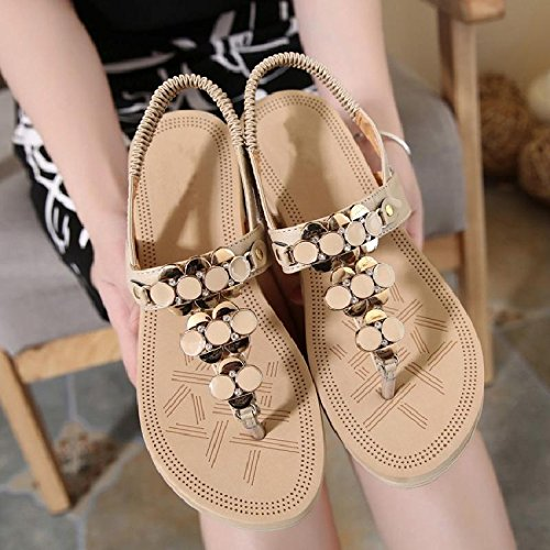 Ladies YMFIE Beach Outdoor Fashion A Sandali Skid Shoes Bohemian Open Casual Flippers Toe Summer Vacation drqx7wnz6r