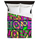 Queen Duvet Cover Faith Hope Love Neon