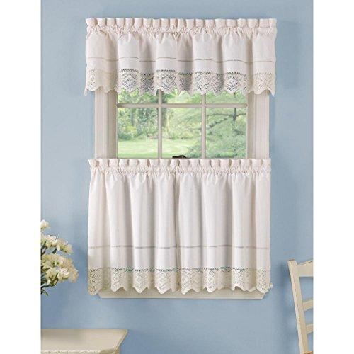 - Essential Home Heirloom Crochet Valance, White 60x14