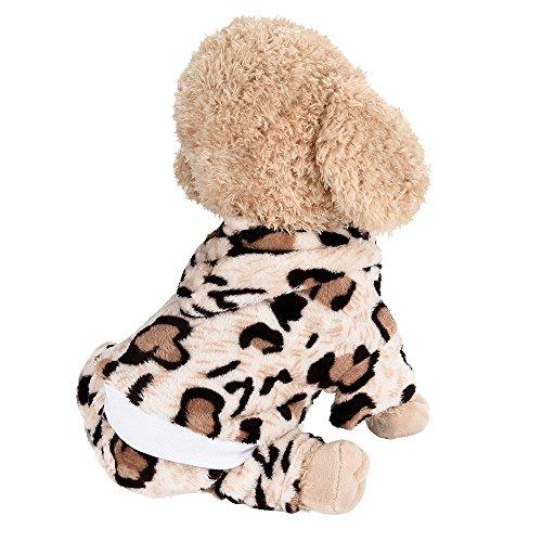 (Hpapadks Pet Leopard Flannel Four-Legged Jumpsuit Pet Clothing, Cute Pet Dog Costume Adorable Soft Clothes for Christmas)