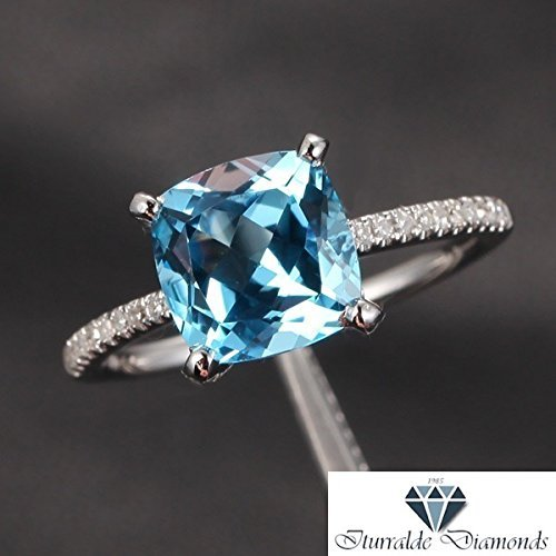 - 14k Cushion Cut Aquamarine Diamond Pave Engagement Ring Solitaire