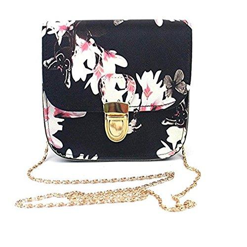 Womens Shoulder Bags Women Butterfly Flower Printing Handbag Shoulder Tote Messenger Bag (Black)