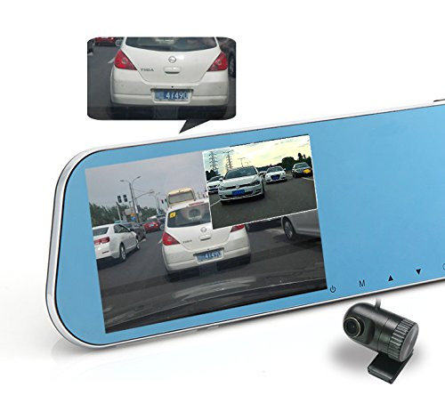 KDLINKS R100 Ultra HD 1296P Front + 1080P Rear 280° Wide Angle Anti-Glare Rearview Mirror Dual Lens Dash Cam with IPS 5″ Screen, Superior Night Mode, Advanced Dashcam Parking Mode, Support 64/128GB
