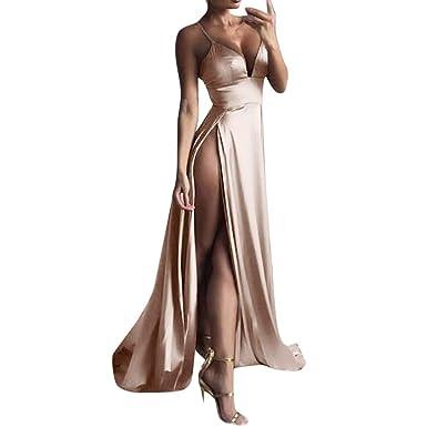HEHEM Evening Dress Sexy Women High-Split Dress Maxi Dress Sexy Women Solid Evening Party
