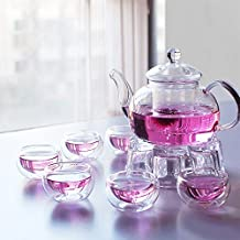 XDOBO 27 oz glass filtering tea maker teapot with a warmer and 6 tea cups, Set of 8 pcs.