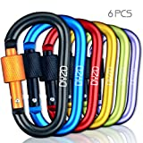Carabiner Aluminum Alloy Screw Locking Spring Clip Hook, D-ring Keychain Clip Hook Outdoor Buckle for Camping, Hiking, Fishing