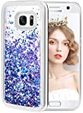 wlooo Samsung Galaxy S7 Glitter Case, Liquid Crystal Shiny Moving Quicksand Slim Clear Transparent Flowing Floating Soft TPU Bumper Silicone Shockproof Protective Luxury Bling Phone Cover-Blue Purple