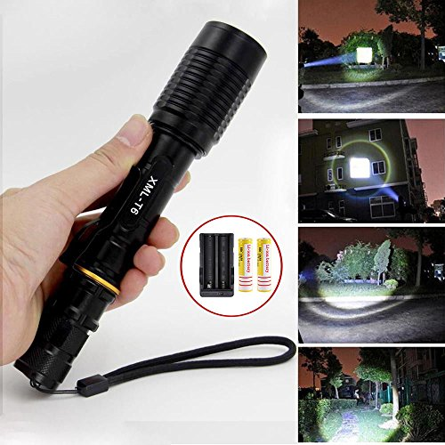 (4000LM CREE XML T6 Adjustable Focus Lamp Waterproof Zoomable LED Flashlight Torch,5 Modes)