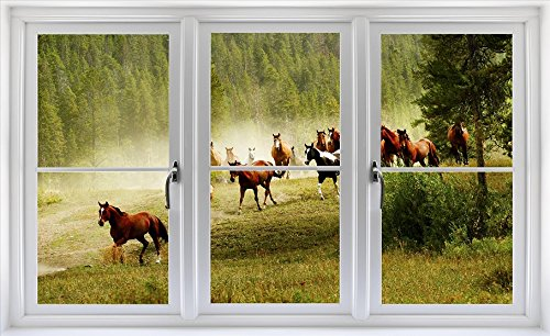 24'' Window Scape Instant View Horses Running Wild Stampede #2 Wall Graphic Sticker Decal Mural Home Kids Game Room Office Art Decor