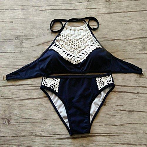 OverDose Mujeres Sandy Beach Push-up acolchado Bra traje de baño bikini Beach Swimwear Negro