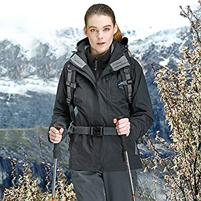 CAMEL CROWN Women's Ski Waterproof Jacket Fleece Inner Breathable Lightweight Rain Coats Hooded Windproof Softshell Snowboard Jacket for Hiking Camping Outdoor Travel