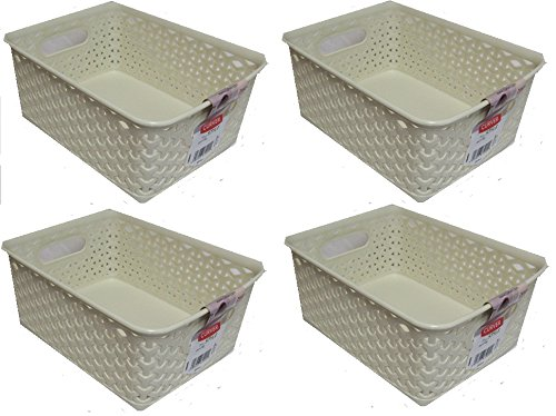 4 x Plastic Rattan Wicker Effect Small Storage Filing Basket Desk Tray 8L Cream Curver TRTAZ11A