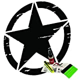 Distressed Oscar Mike Freedom Edition Star hood decal fits jeep wrangler and all other jeep models universal fit 19 matte black vinyl install kid included with air release technology. by AlphaVinyl
