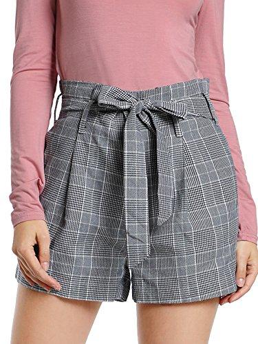 SheIn Women's Tie Waist Inseam Pocket Side Plaid Shorts Grey X-Small -