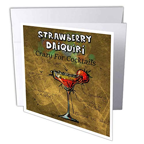 3dRose Lens Art by Florene - Crazy for Different Drinks - Image of Crazy for Cocktails Strawberry Daiquiri Drink and Recipe - 1 Greeting Card with Envelope (gc_309825_5) ()