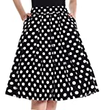 Yige Women's Vintage High Waist Flared Skirt Pleated Floral Print Midi Skirt Pocket Wave Point-L