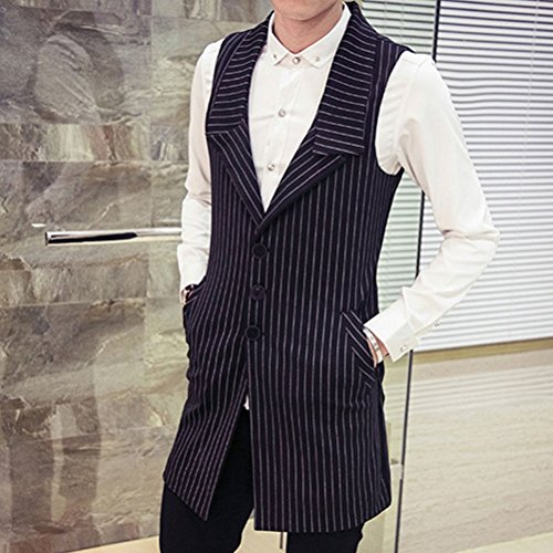 XXXL 4XL 5XL Size Cómodo Mens Suit Zhhlaixing Vest Long Slim Fit Sleeveless XXL negro Waistcoat PH7xAqnwR