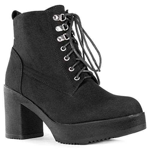 Heel Platform Inch Boot 5 (RF ROOM OF FASHION Women's Light Weight Stacked Platform Heel Side Zip Ankle Boots Black (11))