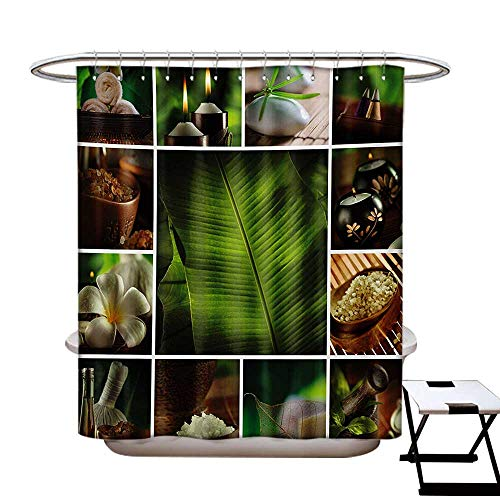 Spa Shower Curtains Fabric Collage of Candles Stones Herbal Salts Towels Botanic Plants Design Print Bathroom Decor Set with Hooks W48 x L84 Green White and - Salt Tennessee Titans