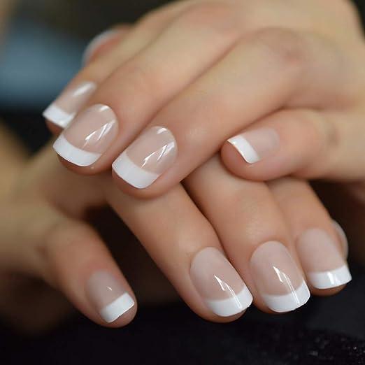 ZJDM Uñas Postizas Summer Short Natural White Nail Falsas Uñas ...
