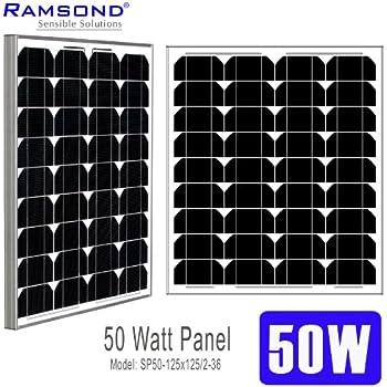 ramsond 50 watt solar panel 50w w monocrystalline photovoltaic pv solar panel. Black Bedroom Furniture Sets. Home Design Ideas