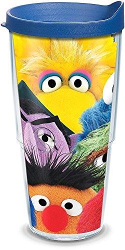 Tervis 1300742 Sesame Street - Big Faces Insulated Tumbler with Wrap and Blue Lid, 24 oz - Tritan, Clear