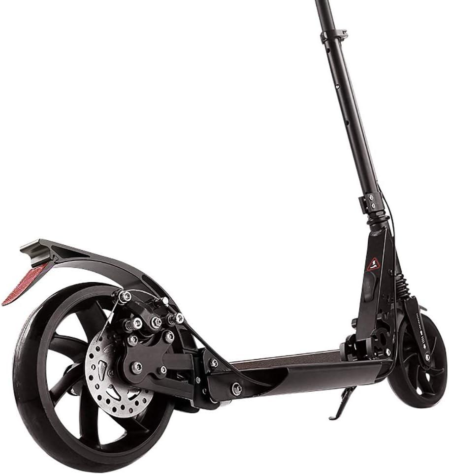 キックスクーター 折りたたみスクーター、高さ調節可能なキックスクータータウンアーバンシティ通勤者は、2つの大きな190mmホイールを備えた大人のスクーターを押します
