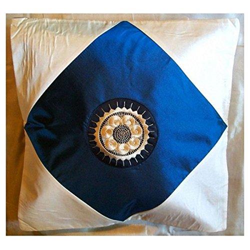 Funda de cojín de seda Thai, Modelo Rombo azul petróleo ...