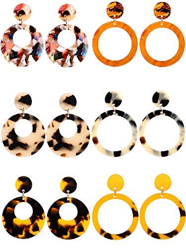 6 Pairs Resin Drop Hoop Dangle Earrings Acrylic Tortoise Shell Statement Earrings in Bohemian Style for Women Girls (Style Set 1, 6 Pairs)