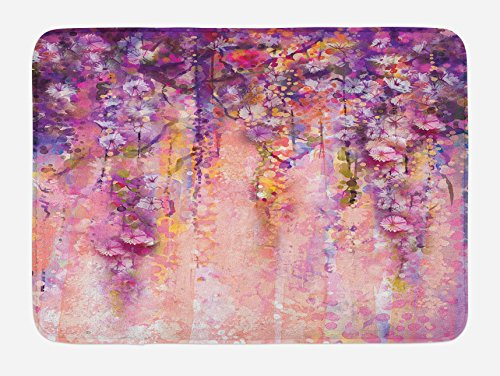 """Ambesonne Flower Bath Mat, Watercolor Painting Effect Wisteria Tree Blossoms Soft Scenic Spring Display, Plush Bathroom Decor Mat with Non Slip Backing, 29.5"""" X 17.5"""", Purple Lilac"""