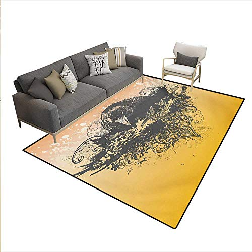 Carpet,Halloween Theme Vector Illustration a Wicked Crow Ornate Flowers Print,Customize Rug Pad,Black -