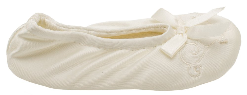 Isotoner Satin Pearl Ballerina Girl's Slippers Ivory Small 11-12 by ISOTONER (Image #4)