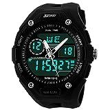 PANEGY Men's Dual Time Zones Multifunctional Analog-Digital Wrist Watch - Black
