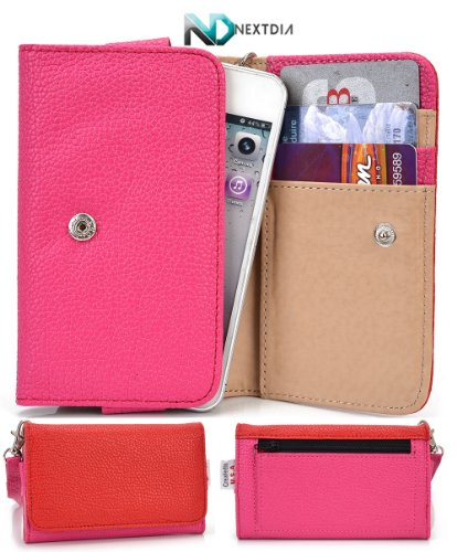 Smart Phone Case Wallet for Plum Trigger [ Magenta / Red ] Stylish Clutch and Wristlet holds phone and cards! NextDia ™ Velcro Cable Strap